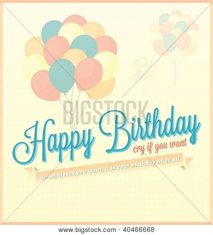 Vintage Happy Birthday Card or Background