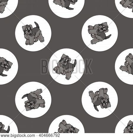 Hand Drawn Cute Schnauzer Puppy Breed In Polka Dot Seamless Vector Pattern. Purebred Pedigree Dog Do
