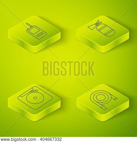 Set Isometric Fire Extinguisher, Ringing Alarm Bell, Fire Hose Reel And Walkie Talkie Icon. Vector