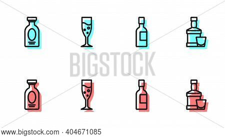 Set Line Champagne Bottle, Alcohol Drink Rum, Glass Of Champagne And Whiskey And Glass Icon. Vector