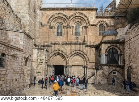 Jerusalem, Israel, January 30, 2020:  Part Facade Of The Church Of The Holy Sepulchre  In Jerusalem,