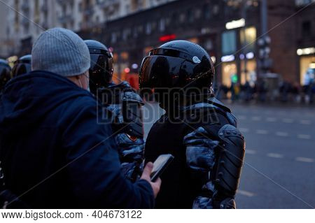 Moscow, Russia, January 23, 2021: Employees Of The Russian Guard At Politics Protests Against Putin