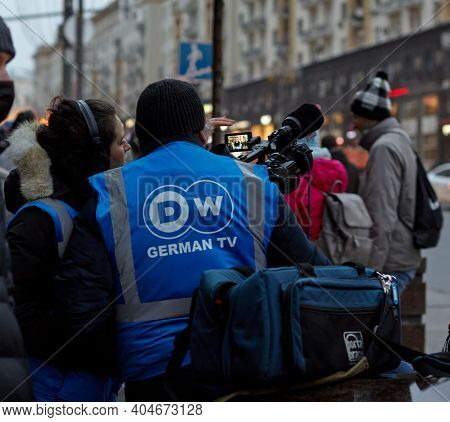 Moscow, Russia, January 23, 2021: German Journalists At Protests Against Putin In Russia, Moscow, Tv