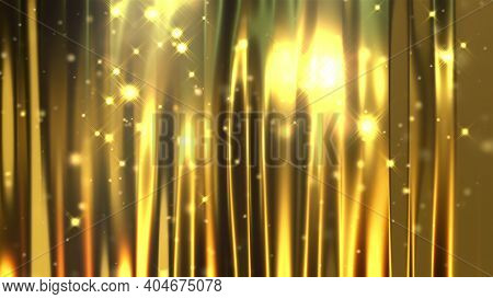 Gold Curtain And Sparkles, Computer Generated. 3d Rendering Of Luxury Art Background