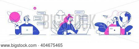 Flat Vector Design Illustrations, Technical Support Assistant, Customer And Operator Vector. Custome