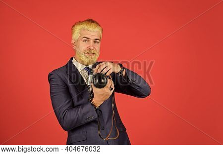 Connoisseur Of Vintage Values. Classy And Old School. Manual Settings. Photographer With Blond Beard