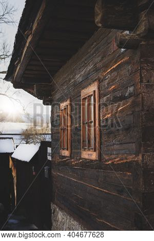 Facade Of Old Log Cabin House.vlkolinec, Traditional Settlement Village In The Mountains.