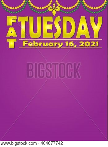 Fat Tuesday Mardi Gras February 2021 Celebration Banner