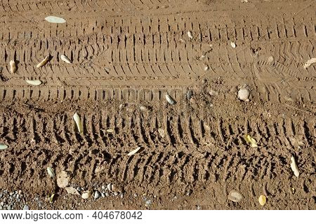 Wheel Tracks. Track Off-road Of A Tire. Wheel Tracks On The Muddy Ground.