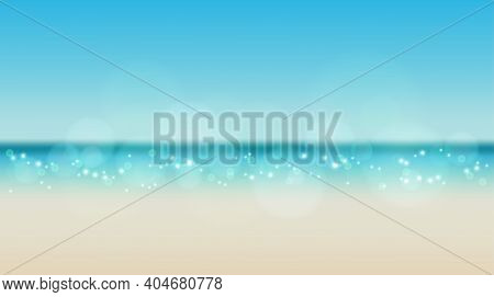 Sky And Sun At Sea Background, Ocean And Beach Vector Island Empty Scenery . Ocean Or Sea Water With