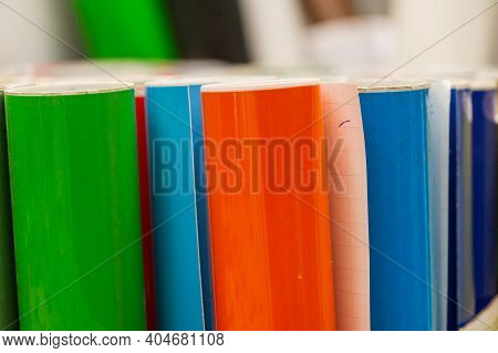 Vinyl Car Wrapping Or Plotter Cutting Sticker Foil Film Rolls. Film Colored In Rolls For Advertising
