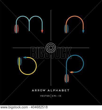 Modern Minimalist Font Alphabet Shaped Like Archery Arrows. Letters M,n,o,p. Vector Illustration.