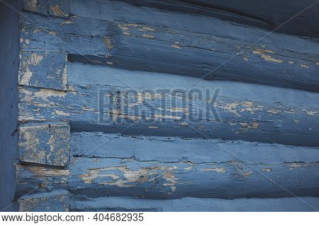 Close Up Detail Of Log Cabin House.vlkolinec, Traditional Settlement Village In The Mountains.