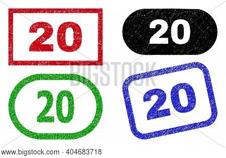 20 Grunge Seal Stamps. Flat Vector Grunge Stamps With 20 Phrase Inside Different Rectangle And Round