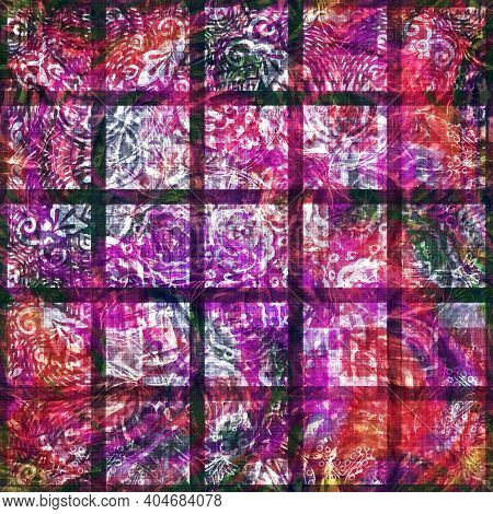 Colorful Summer Patchwork Square Woven Texture. Grunge Vintage Printed Boho Cotton Textile Effect. P