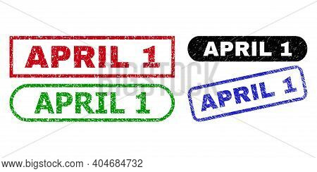 April 1 Grunge Seals. Flat Vector Grunge Seals With April 1 Title Inside Different Rectangle And Rou