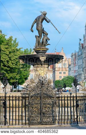 Gdansk, Poland - June 1: Neptune's Fountain Sculpture In Gdansk, Poland, One Of The Most Distinctive