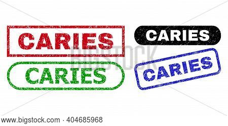 Caries Grunge Seal Stamps. Flat Vector Distress Seal Stamps With Caries Message Inside Different Rec