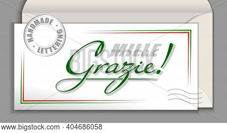 Handwritten Italian Language Lettering Grazie Mille - Thank You Very Much. Italy Vector Calligraphy