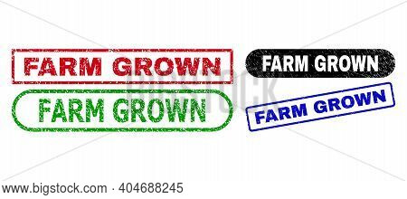 Farm Grown Grunge Stamps. Flat Vector Distress Seal Stamps With Farm Grown Slogan Inside Different R