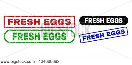Fresh Eggs Grunge Seal Stamps. Flat Vector Textured Seal Stamps With Fresh Eggs Title Inside Differe