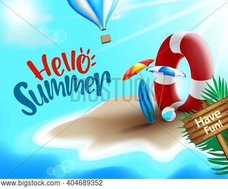 Hello Summer Vector Banner Design. Hello Summer Text In Island Beach Background With Lifebuoy, Umbre