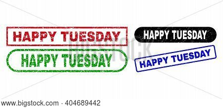 Happy Tuesday Grunge Seals. Flat Vector Textured Seals With Happy Tuesday Caption Inside Different R