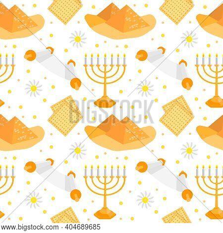Jewish Holiday Passover Seamless Pattern. Vector Illustration
