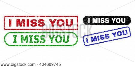 I Miss You Grunge Watermarks. Flat Vector Grunge Seals With I Miss You Title Inside Different Rectan