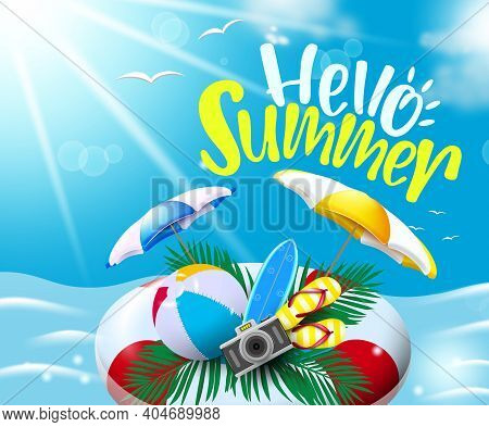 Summer Vector Background Design. Hello Summer Text With Floating Floater In Sea Water Background Wit