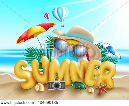 Summer Vector Concept Design. Summer 3d Text With Fun And Enjoy Travel Vacation Elements Like Beachb