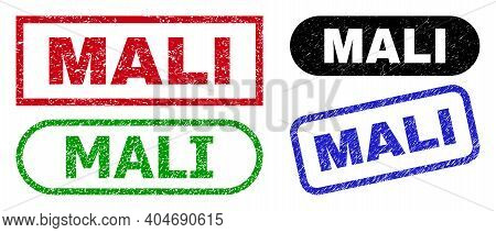 Mali Grunge Watermarks. Flat Vector Distress Watermarks With Mali Title Inside Different Rectangle A