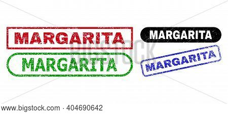 Margarita Grunge Seals. Flat Vector Grunge Seal Stamps With Margarita Title Inside Different Rectang