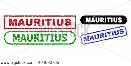 Mauritius Grunge Seal Stamps. Flat Vector Textured Seal Stamps With Mauritius Slogan Inside Differen