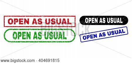 Open As Usual Grunge Watermarks. Flat Vector Grunge Watermarks With Open As Usual Text Inside Differ