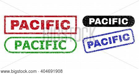 Pacific Grunge Seal Stamps. Flat Vector Scratched Seal Stamps With Pacific Text Inside Different Rec