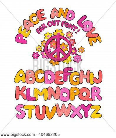 Hand Drawn Peace And Love Doodle Font With Textured Overlay. 1960s Style With Daisies And Peace Symb