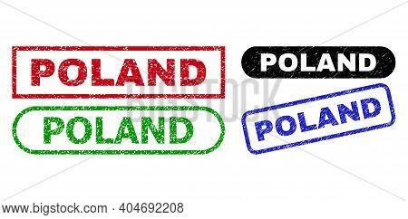 Poland Grunge Seal Stamps. Flat Vector Grunge Seal Stamps With Poland Slogan Inside Different Rectan