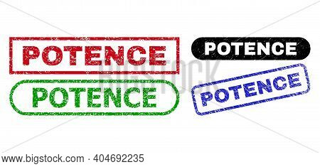 Potence Grunge Stamps. Flat Vector Grunge Watermarks With Potence Message Inside Different Rectangle