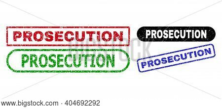 Prosecution Grunge Watermarks. Flat Vector Distress Seals With Prosecution Message Inside Different