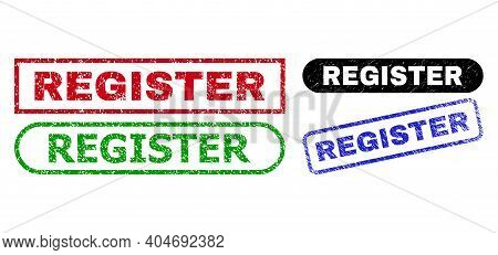 Register Grunge Watermarks. Flat Vector Scratched Watermarks With Register Slogan Inside Different R