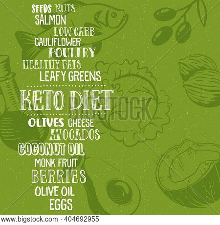 Keto Diet Word Cloud With Descriptive Words And Various Illustrated Foods.  Ketogenic Diet For Healt