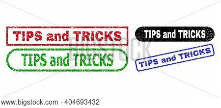 Tips And Tricks Grunge Seal Stamps. Flat Vector Grunge Seal Stamps With Tips And Tricks Slogan Insid