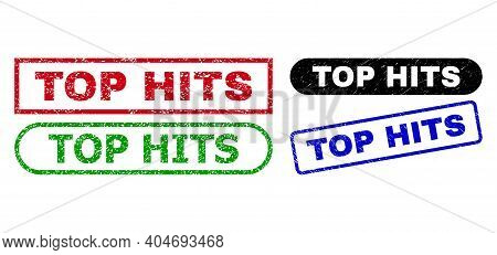 Top Hits Grunge Seal Stamps. Flat Vector Grunge Seal Stamps With Top Hits Text Inside Different Rect