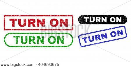 Turn On Grunge Watermarks. Flat Vector Grunge Watermarks With Turn On Slogan Inside Different Rectan