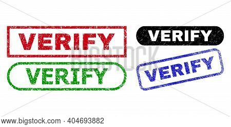 Verify Grunge Seal Stamps. Flat Vector Grunge Seal Stamps With Verify Tag Inside Different Rectangle