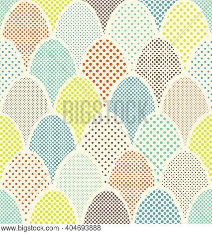 Mid Century Overlapping Egg Pattern For Easter And Spring Backgrounds, Gift Wrap, Wallpaper.