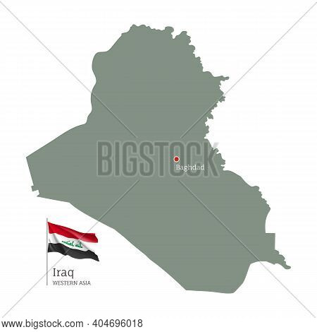 Silhouette Of Irak Country Map. Highly Detailed Editable Map Of Irak With National Flag And Baghdad