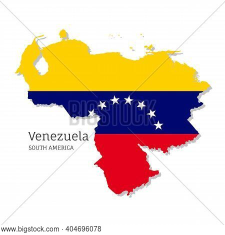 Map Of Venezuela With National Flag. Highly Detailed Editable Map Of South America Country With Terr