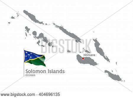 Silhouette Of Solomon Islands Country Map. Gray Detailed Editable Map With Waving National Flag And